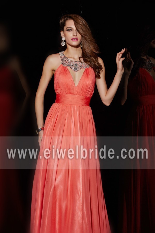 Empire beaded organza open back A-Line sleeveless beautiful celebrity evening dress