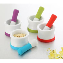 with Non-Slip Detachable Silicone Base with silicone handle mortar and pestle