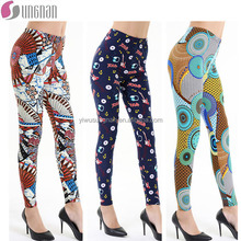 wholesale digital printing double brushed leggings slim tights for women