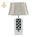 White mosaic plated fabric lampshade table lamp for wedding dressing