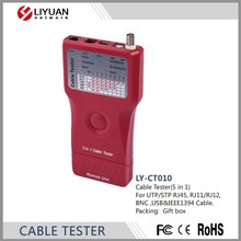 LY-CT010 alta calidad <span class=keywords><strong>Red</strong></span> <span class=keywords><strong>de</strong></span> Cable Tester (5 in1) Para UTP/STP RJ45, RJ11/RJ12, <span class=keywords><strong>BNC</strong></span>, USB y Cable IEEE1394