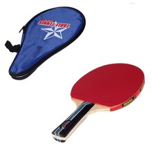 Long Handle Shake-hand Table Tennis Racket Ping Pong Paddle with Waterproof Bag Pouch Blue Indoor Table Tennis Accessory