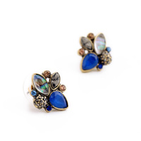 Hot Sale Fashion Costume Wholesale Charm Earrings Sapphire Chandelier Ladies Small Stud Earrings