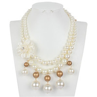 Fashion Resin Big White Simulated Pearl Multi Strand 3 Layer Chunky Evening Necklace