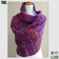 100% acrylic knitted crochet shawl soft touching and comfortable to wear for woman