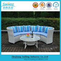 Hot Sale Outdoor Luxury Synthetic Rattan Single Air Lounge Design Curved Sofas
