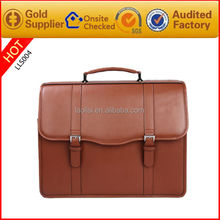 Quality brown leather briefcase bag satchel portfolio men messenger bag