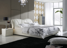 Popular PU leather furniture white leather bed A016