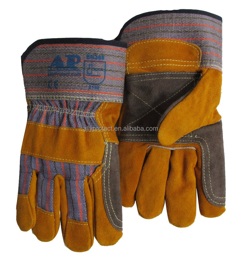 AP-1524 CE EN388 heavy duty leather working gloves with double leather palm of safety glove