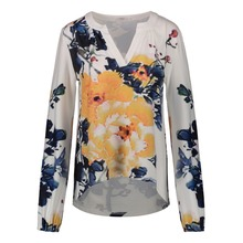 Trendy Fashion ladies Casual spring blouse Long Sleeve Women latest printed blouse designs 2018