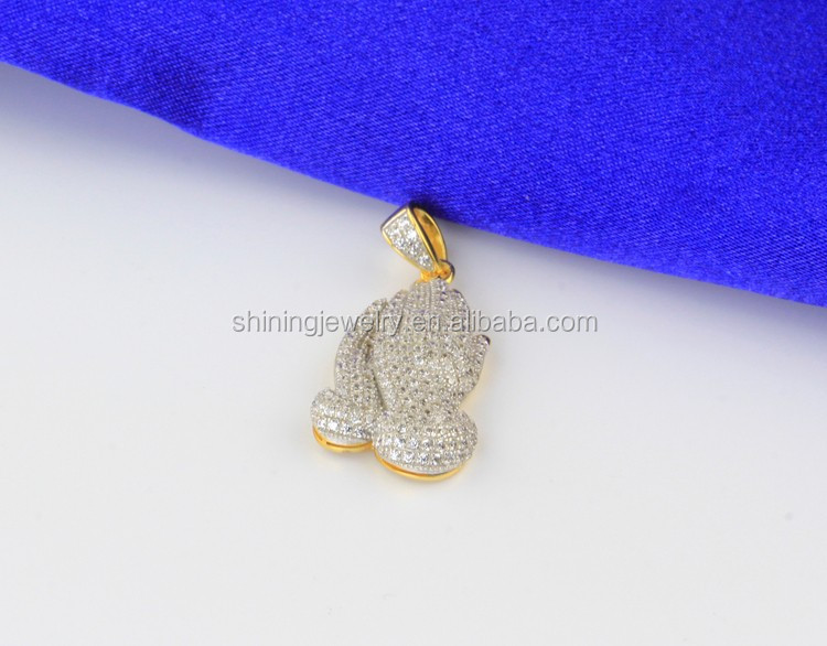 925 Silver 14k Gold Finish Iced Out Simulated Diamond Praying Hands Pendant