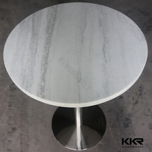 big round solid surface marble dining table