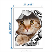 Syene cartoon animals cat wall stickers 3d removable toilet bathroom wallpaper decals