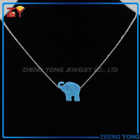 Blue Opal Stone Elephant Necklace / Elephant Opal Jewelry
