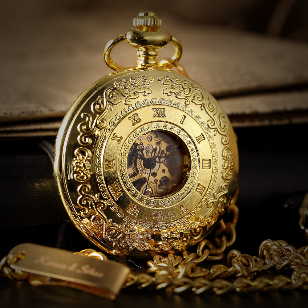Skeleton Steampunk Transparent Half Hunter Roman Dial Gold Mechanical Pocket Watch