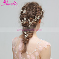 2018 New Wedding Dress Accessories Dainty Tiny Leaf Charm headband Pearl Hair Vine with Hair Pin Set