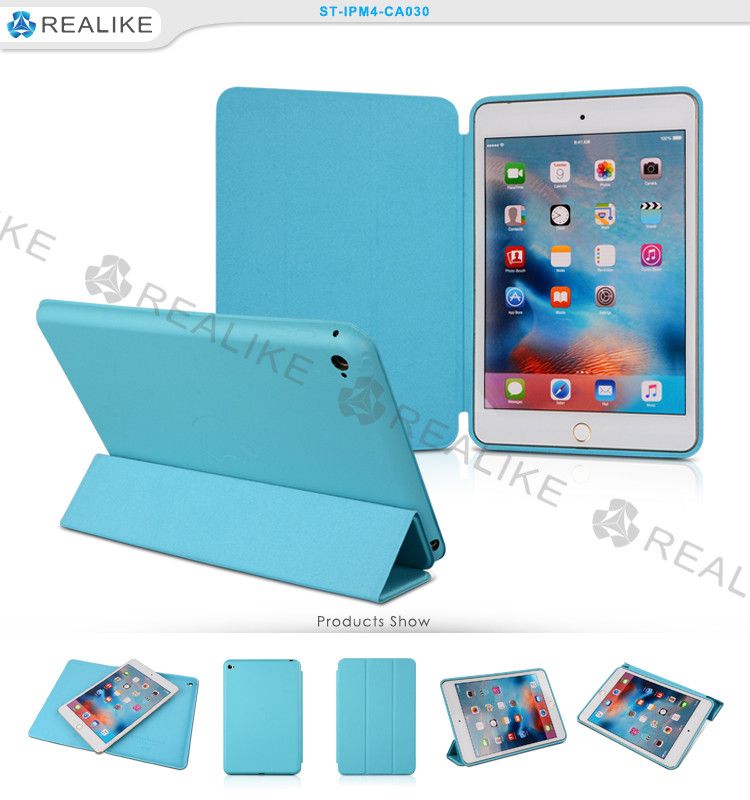 high quality pu leather back stand smart case original for ipad mini4, sleep and wake up function case