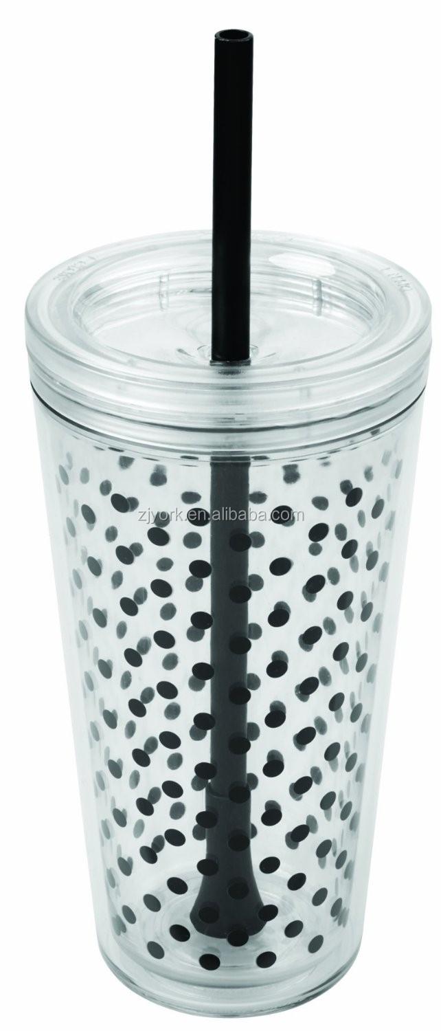 100% leak-proof food grade double wall 24oz acrylic plastic drink cup with straw