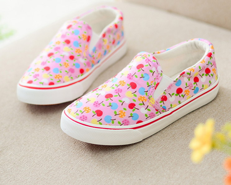 FC2325 Children's canvas shoes Personality fruit graffiti girls canvas shoes kids shoes