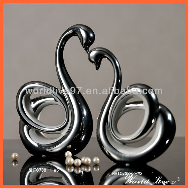 NHTC738-1-2-WS White and Silver Ceramic Swan Show Pieces for Home Decoration