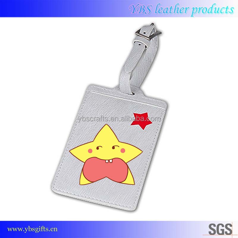 Personalized eco-friendly PU leather luggage tag comply with US standards