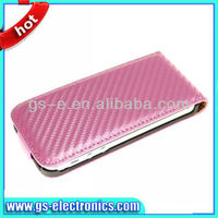For iphone 5 flip case Carbon Fibre Flip Up-Down Leather Case Cover for iPhone5 5G