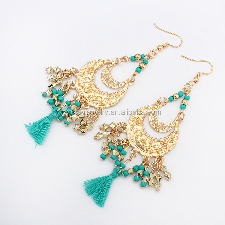 Dubai Gold Bead Tassel Earrings Tops Design