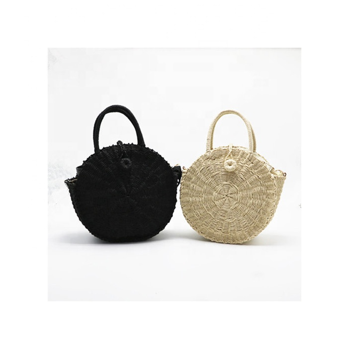 Wholesale Women Rattan Straw Bag Summer Beach <strong>Tote</strong> Bags Round Handwoven Handbags