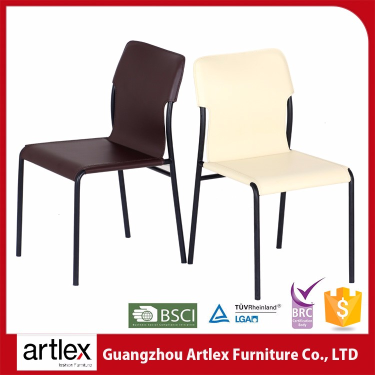 ALC-1687 Artlex factory competitive price antique high back recycle leather black lacquer dining chair