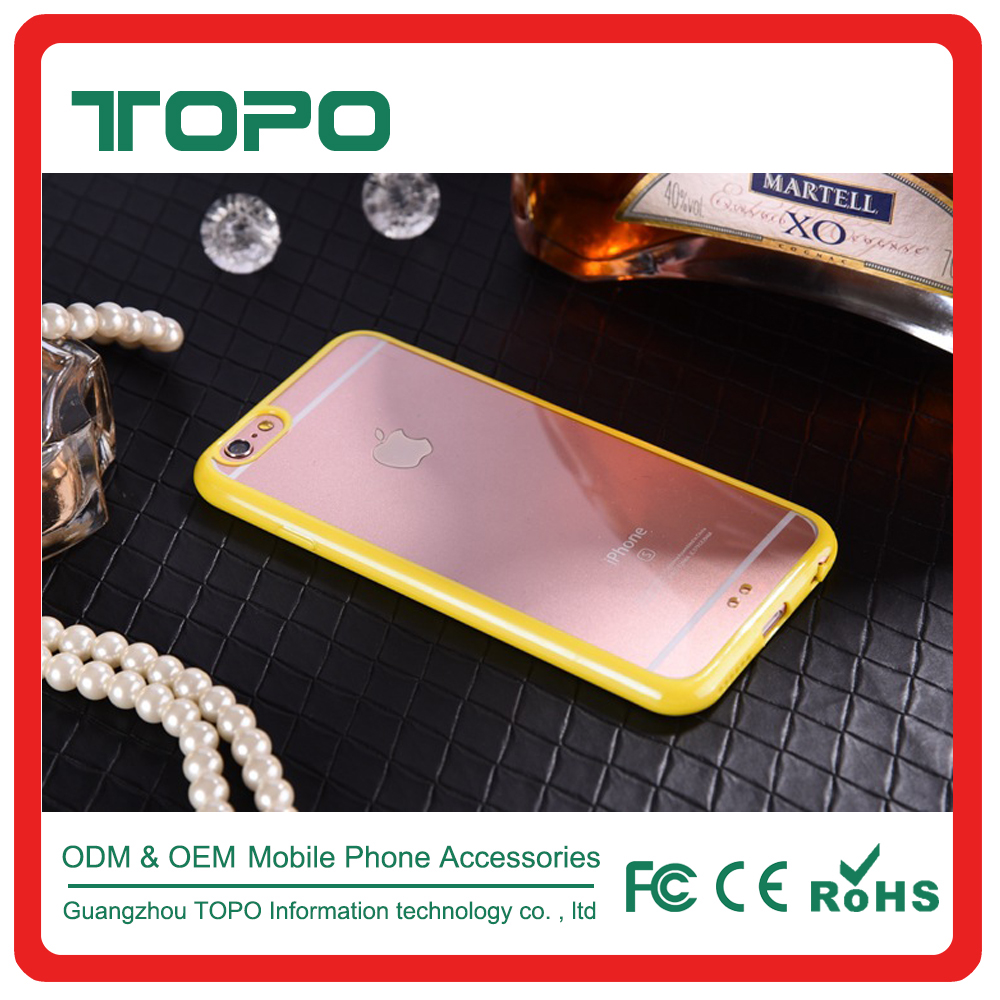 2 in 1 PC Soft TPU phone cover hard plastic transparent clear bumper gel candy color cases for iphone 6 6s 7 plus case