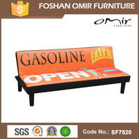 orange leather sofa/fabric print sofa bed