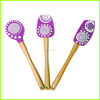 Food Grade Silicone Rubber Baking Utensils Set Of 3 piece BBQ Scraper with Beech Wooden Handle
