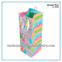 Delicate Colorful art paper bag gift bag with silk ribbon handles