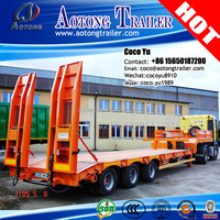 Chinese best quality JUYUAN Tri axles step frame hight strength main beam 50 tons ladder hydraulic low bed trailer