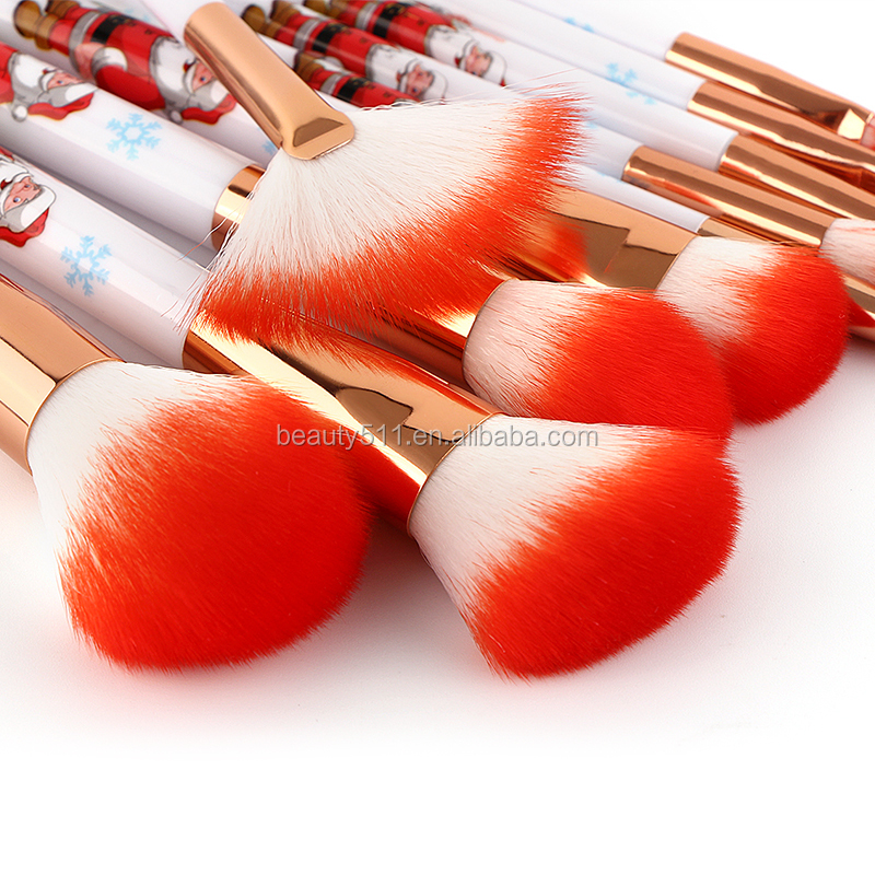 2018 New Design Good Quality Synthetic 10 Christmas make-up brushes With Cone Handle OEM ODM Accept Packaging Customized