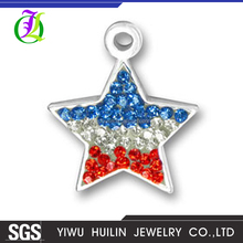 CN186156 Yiwu Huilin jewelry New Arrival Silver plated Diamond multicolor crystal Charms Five Pointed Star Pendant