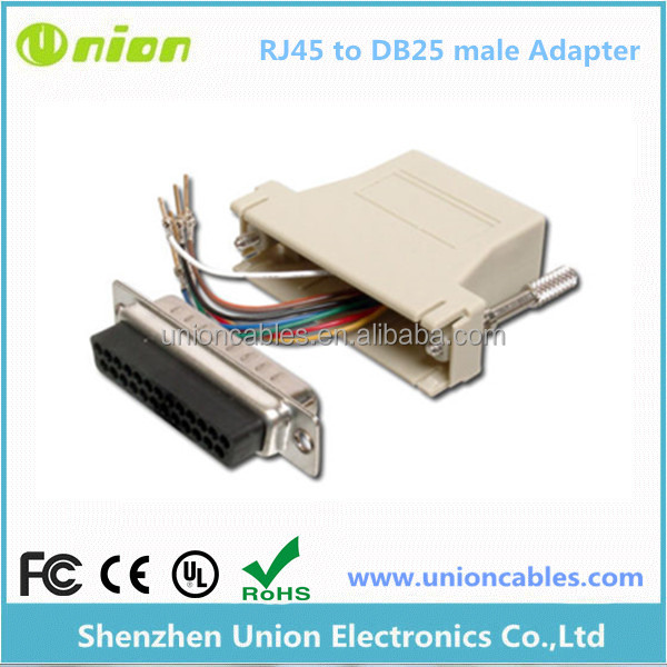 25 Pin Serial DB25 RS232 Male to RJ45 Network Female Socket Adapter