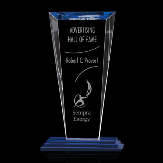High grade k9 plaque blue color crystal award trophy for business gift