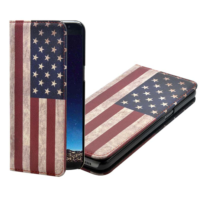 Retro American Flag Stand Leather Wallet Cover Case For Samsung Galaxy S8