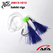2 rigs flash krystal tied hook with fish skin sabiki rigs