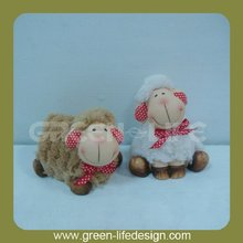 Creative design Ceramic Sheep with Plush