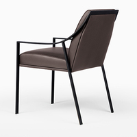 Modern Steel Frame Black Leather Armrest Dining Chair