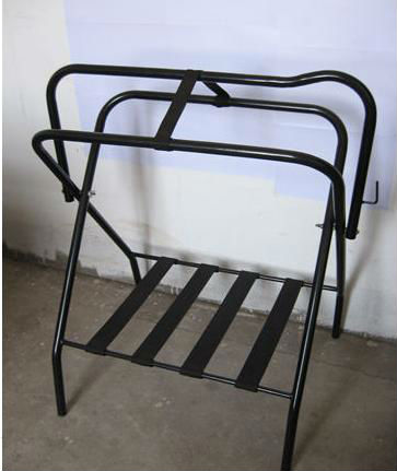 Horse Floor-type Folding Saddle Rack With Black Nylon Straps