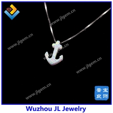 Special Shape 925 Sterling Silver Synthetic White Boat Anchor Fire Opal Gemstone Chain Necklace