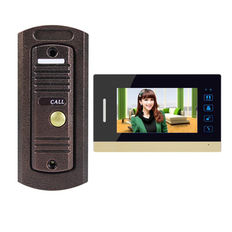 7 inch touch button screen video door phone intercom kit with clock feature