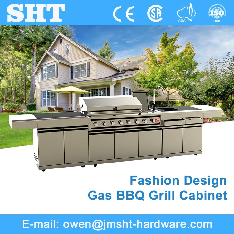 High Quality Modern Gas Grill Modular Kitchen Cabinet Price with fridge