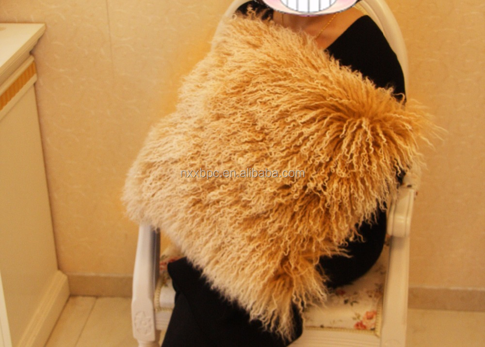 Mongolian/Tibetan lamb skin cushion/pillow/throw/cover/luxe handmade mongolian fur cushion
