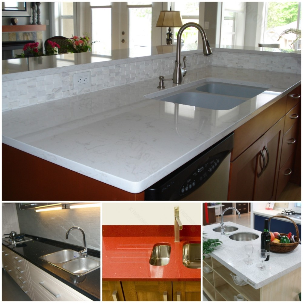Purple quartz stone synthetic kitchen countertops view for Synthetic countertop materials