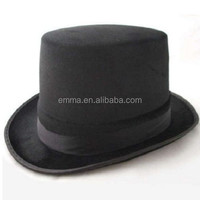 High quality polyester top hat mini felt top hat flat top fedora hat HT8452
