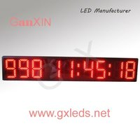 large red aluminum alloy frame wall digital calendar date clock